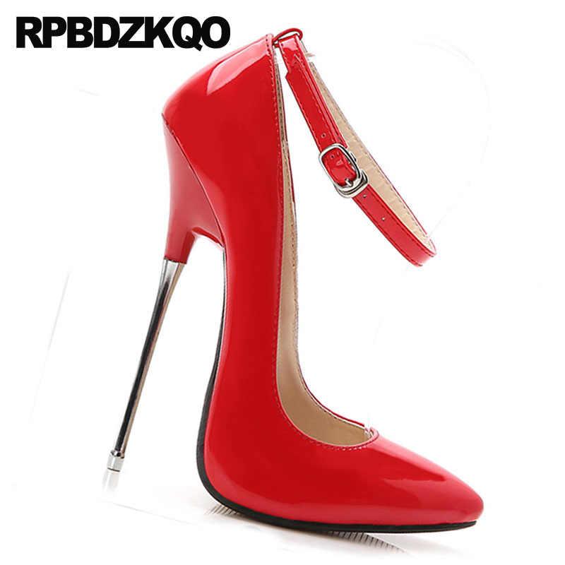 685e1e7e1a9 Big Size Peach Ladies Shoes High Heels 16cm Stilettos Ankle Strap Gold  Fetish Red 10 42 Sexy 12 44 Pumps Metal Exotic Dancer