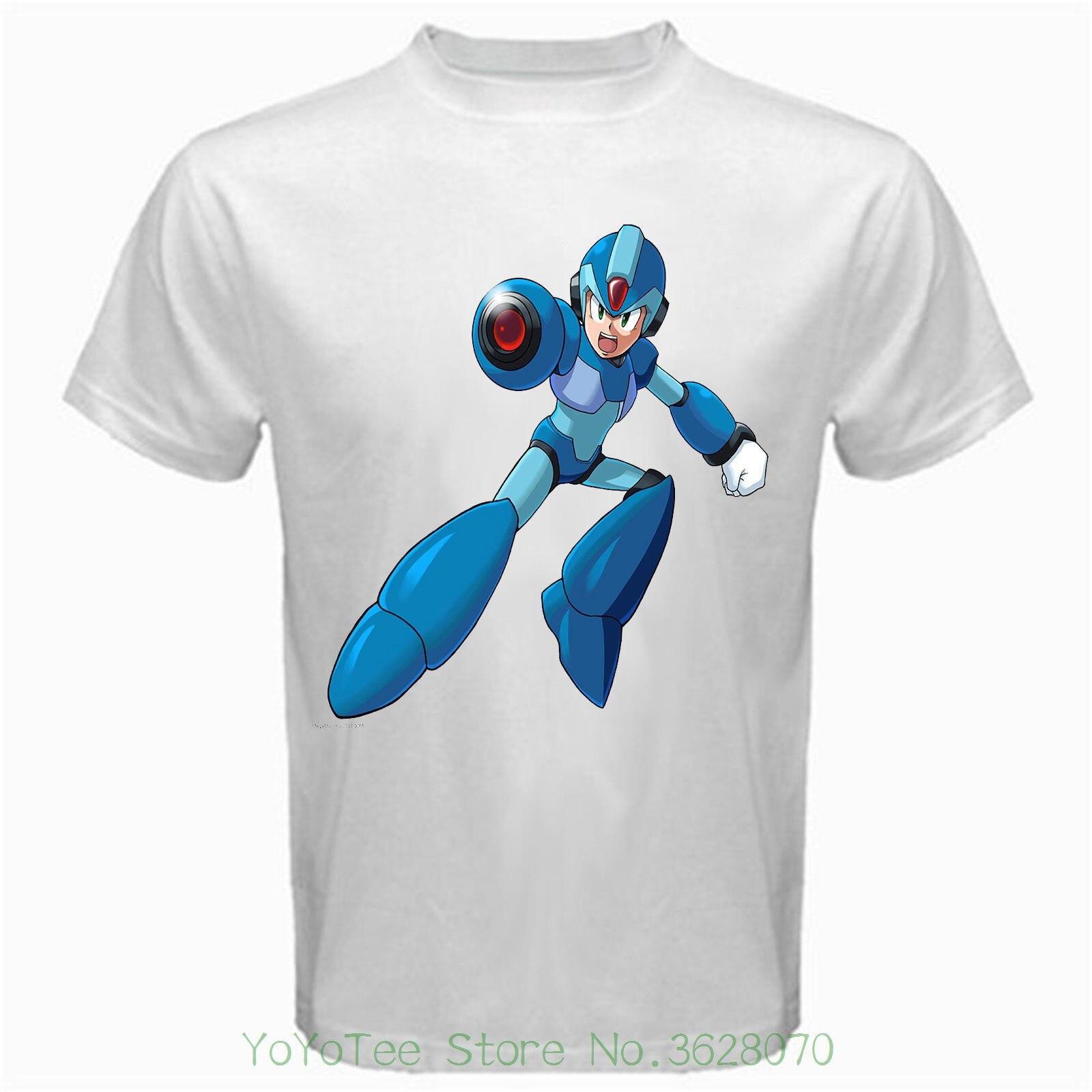 Men's High Quality Custom Printed Tops Hipster Tees Megaman X Retro Video Game Tshirt White Basic Tee