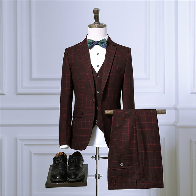 Business Plaid 3 Piece Suit Jacket Coat Trousers 1