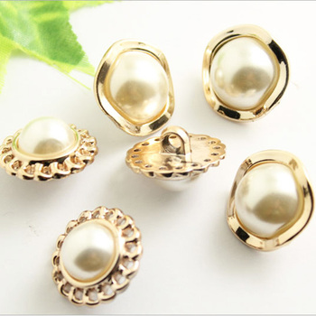 10 Pcs/Set Metal Gold Pearl Buttons, DIY,Used For Clothing Accessories, Suitable Sewing And decoration of clothing