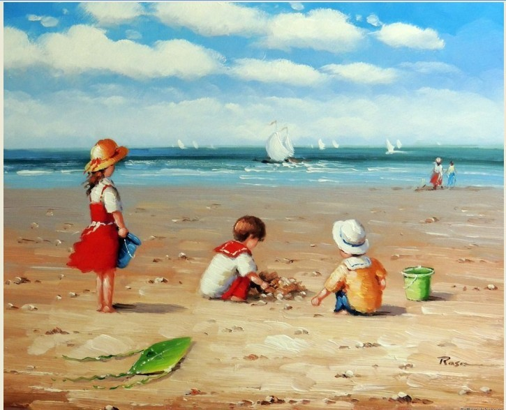 Children Playing Beach Sand 1800's Boats Ocean 50x60