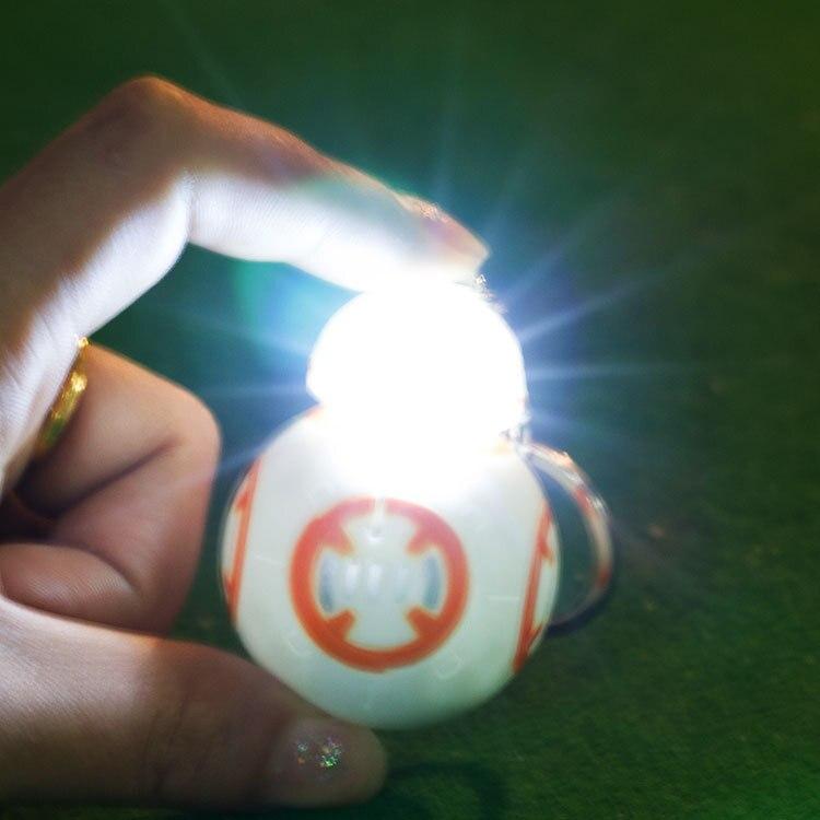 10 шт./компл. Звездные войны BB8 фонарик брелок The Force Awakens BB-8 DIY цепочка для ключей Звук Свет светодиодный Автомобиль Рисунок игрушки держатель ...