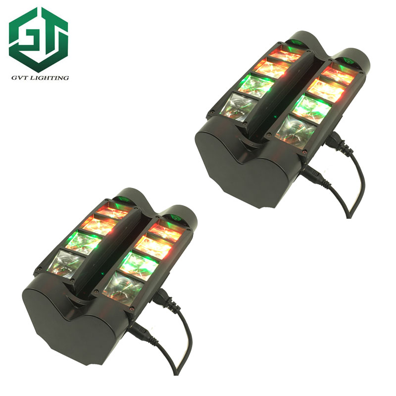 2pcs/lot 8x10W Mini Led RGBW Led Beam Moving Head Spider Light DMX DJ Stage Lighting