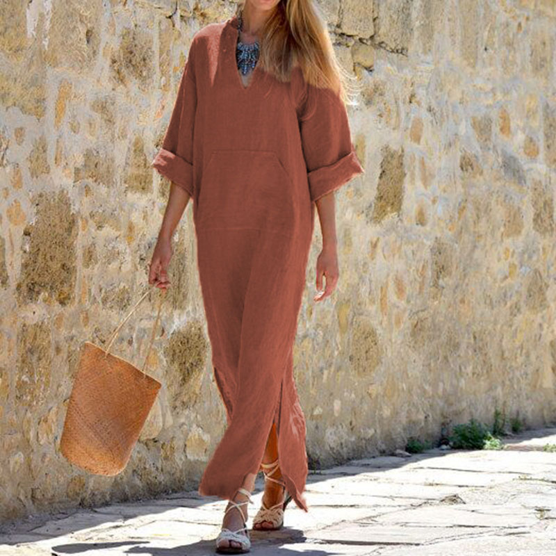 Women Vintage Maxi Long Dress 19 Celmia Summer Autumn Sexy V Neck Long Sleeve Split Casual Loose Linen Vestidos Kaftan S-5XL 11