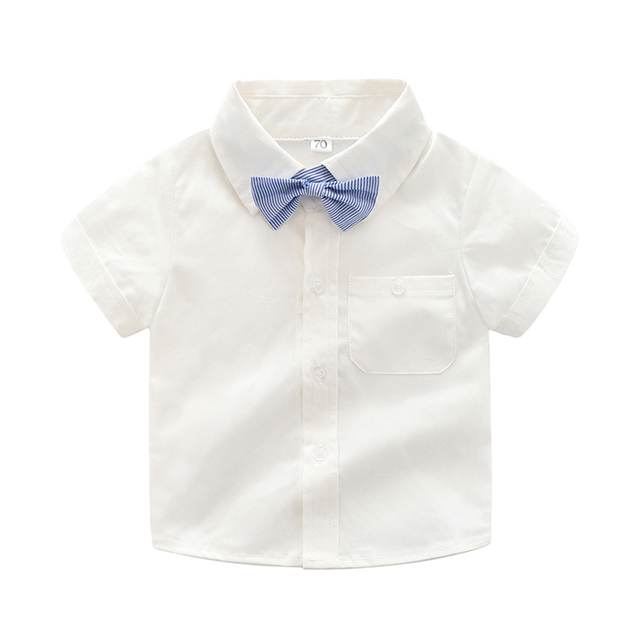 37bd6ecf Baby Boy Shirt infant 2018 Summer New Fashion Short Sleeve Cotton White  Turn-down Collar kids Bownot Shirt Children Boys Shirt