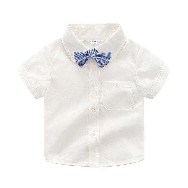 20f3760d6416 Baby Boy Shirt infant 2018 Summer New Fashion Short Sleeve Cotton White Turn -down Collar kids Bownot Shirt Children Boys Shirt