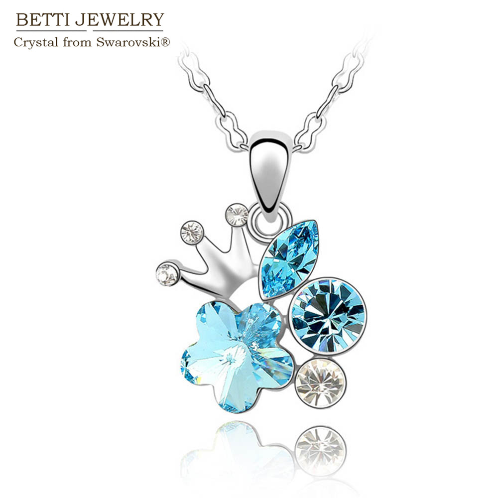 2016 New 4 colors fashion charming plum flower pendant rhinestone necklace With Crystals from SWAROVSKI for Mother's D gift