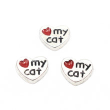 Hot Sale 20pcs/lot Enamel I Love My Cat Silver Floating Charms For Living Glass Floating Lockets Necklace Bracelet Jewelry(China)