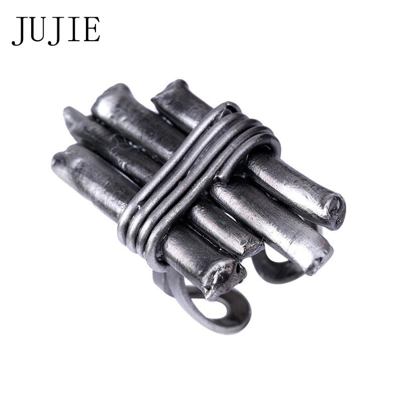 JUJIE Vintage Geometriai Egyszerű Pisztoly Fekete Gyűrűk Női 2018 - Divatékszer