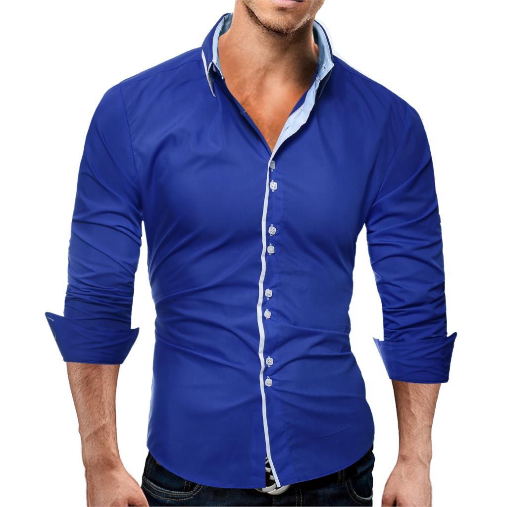 Brand 17 Fashion Male Shirt Long-Sleeves Tops Casual Solid Multi-Button Mens Dress Shirts Slim Men Shirt 3XL ASDF 7