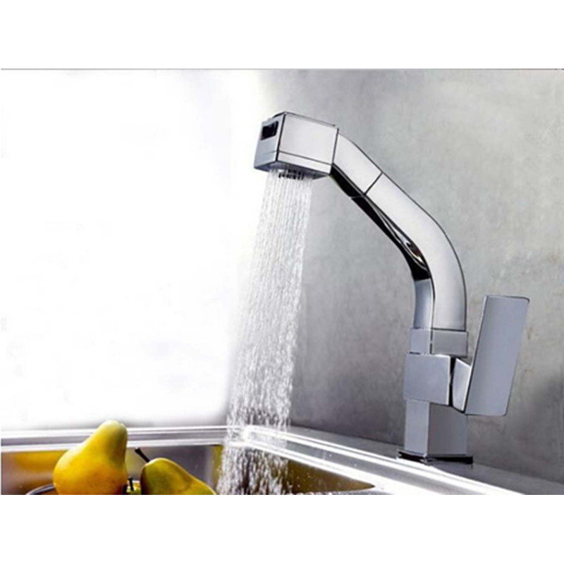 Chrome Brass Pull Out Kitchen Sink Faucet Dual Spouts Mixer Tap Single Handle - Free shipping chrome kitchen sink faucet solid brass spring two spouts deck mount kitchen mixer tap