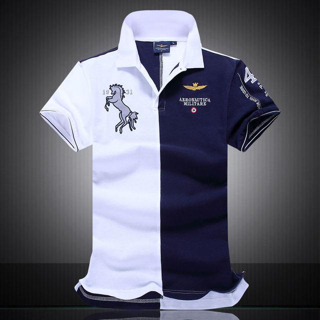 Новый 2016 Лучшие Качества вышивка мужские марка одежды Мужчины homme алмаз Моды aeronautica militare Рубашки Марка polo одежда