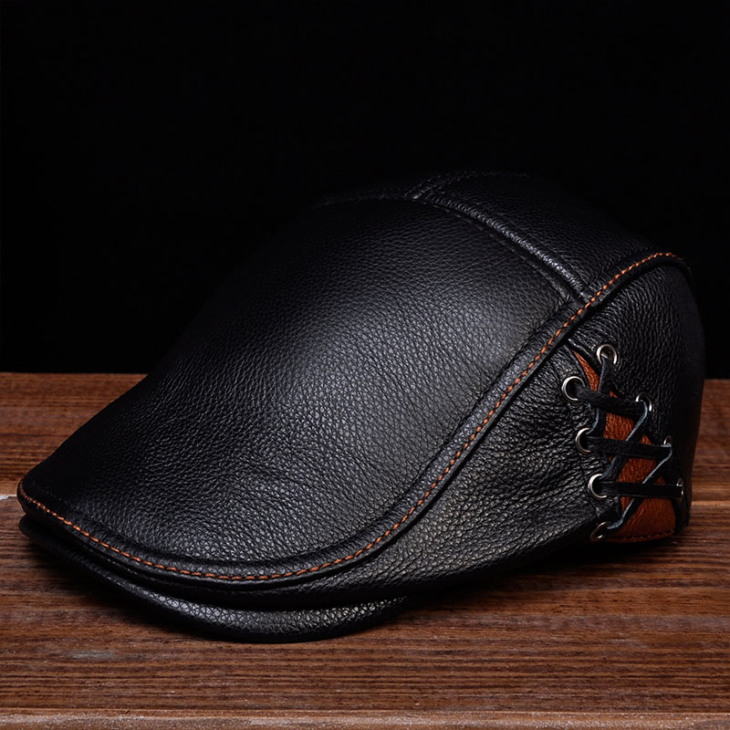 33e962a9d44 HL111 2018 Brand new style genuine leather baseball gatsby ascot caps  newsboy beret hats Spring Men s real cow leather hat-in Baseball Caps from  Apparel ...