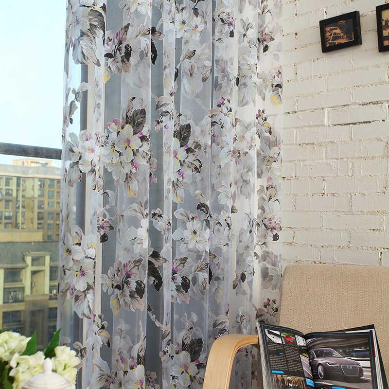 Topfinel Moderno Floreale Tulle Complementi Arredo per le finestre Tende Trasparenti per Soggiorno Camera Da Letto Cucina Pannello Tende e Tende