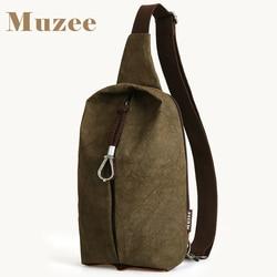 Винтажная Сумка-слинг Muzee, Мужская нагрудная сумка, простая модная Дорожная сумка-мессенджер через плечо