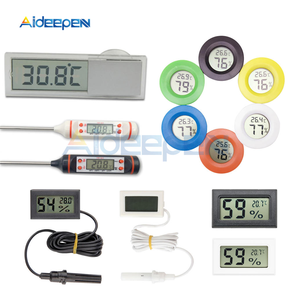 Digital LCD Display Thermometer Hygrometer Temperature Humidity 2M Cable Black