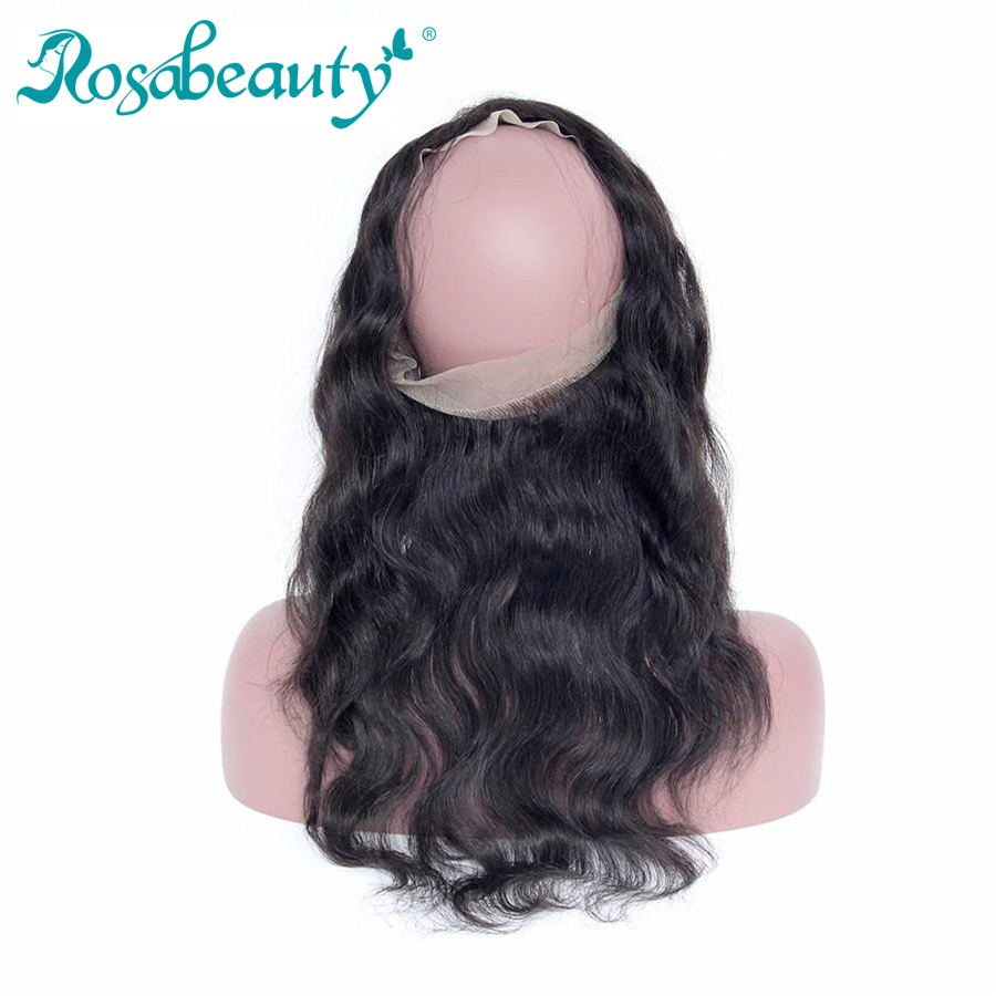Rosabeauty Body Wave 360 Lace Frontal Remy Hair Pre plucked with Baby Hair Natural Color Frontal