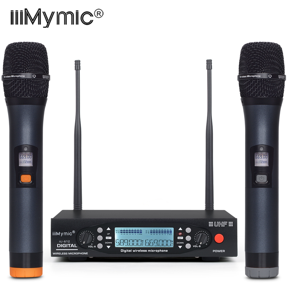 IU-612 PLL UHF Wireless Microphone System 2 way 100 Channels Metal Handheld Wireless Mic Karoke KTV Party Dynamic Microphone