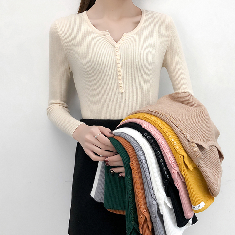 2019 Autumn Winter Button V Neck Sweater Women Basic Slim Knitted Pullover Women Sweaters Pullovers Knit Jumper Ladies Sweater