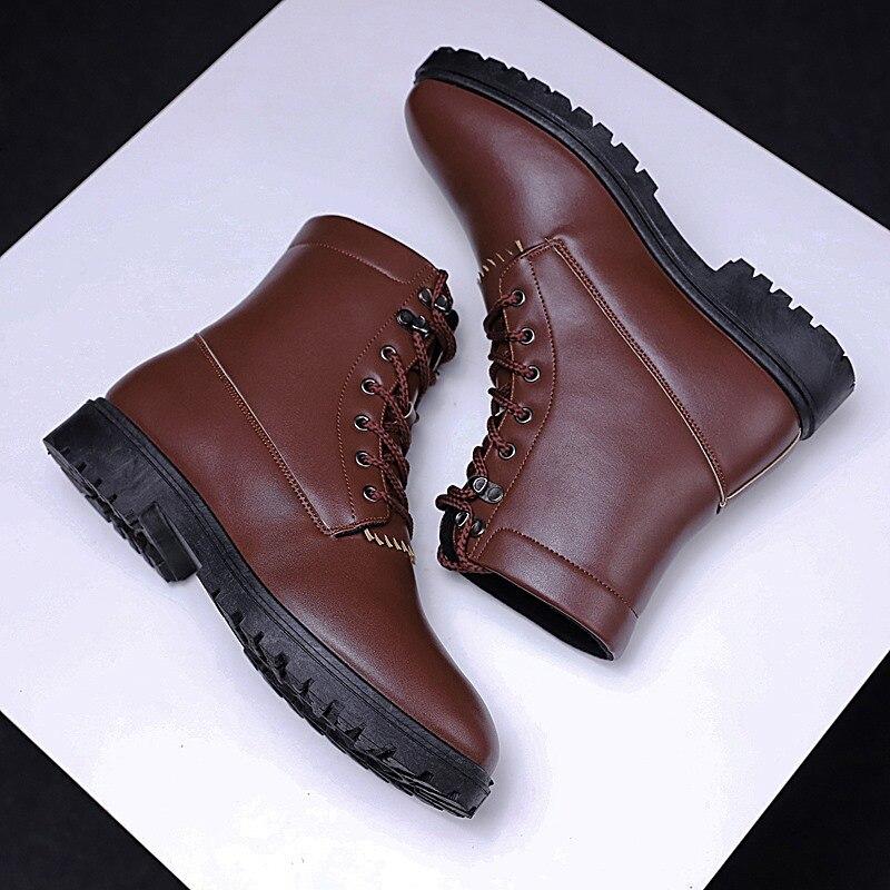 Cuero Hombres Martin Alta Invierno Black Del Trabajo Libre Tobillo Nueva Botas Aire Impermeables brown Calidad 5 Genuino Otoño Zapatos Al PRqntw