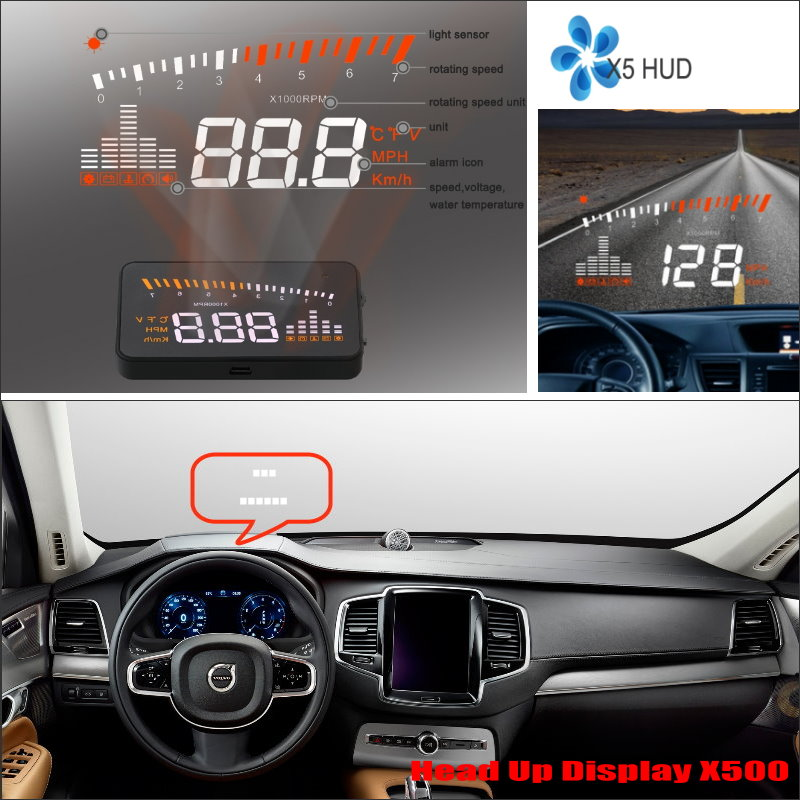 ФОТО For Volvo XC60 XC90 2015 2016 Car Head Up Display Saft Driving Screen Projector - Refkecting Windshield
