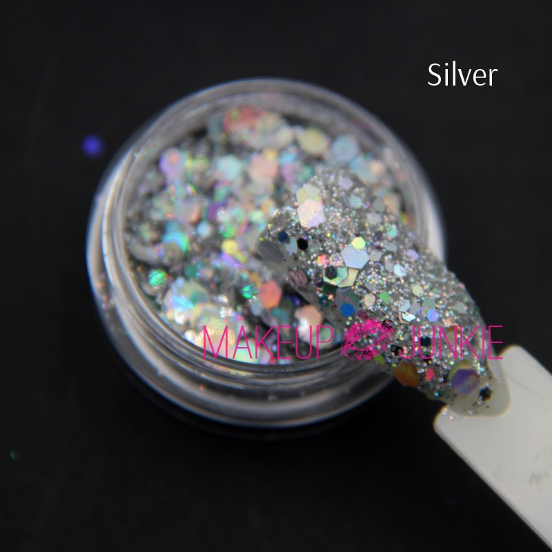 1jar Shiny Nail Glitters Mix sizes Hexagon Glitter Sequins Candy color Paillettes Manicure Nail Art Decoration 3ml in Nail Glitter from Beauty Health