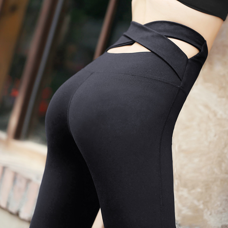 2018 yoga pants women sexy Stitching Elastic Fast Dry cross yoga pants workout legging gym sportswear fitness athletic yoga pant