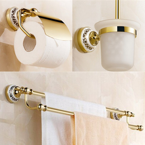 Golden Bathroom accessories set paper holder+toilet brush holder+double Towel Bar solid brass 3pcs bath accessory set 2015 copper golden chrome bathroom accessories suite bathroom double towel bar soap bars brush holder discbathroom accessories