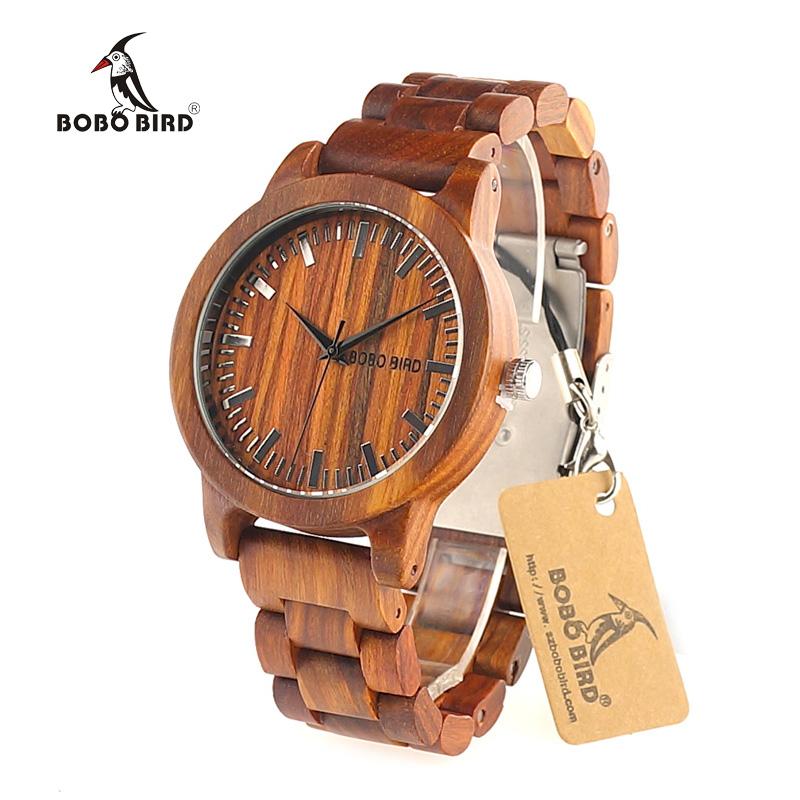 Prix pour Bobo bird m10 dernières hommes femmes montres en bois rouge bois de santal cas Échelle Cadran Séquoia Bande Quartz Montre Marque Designer accepter OEM