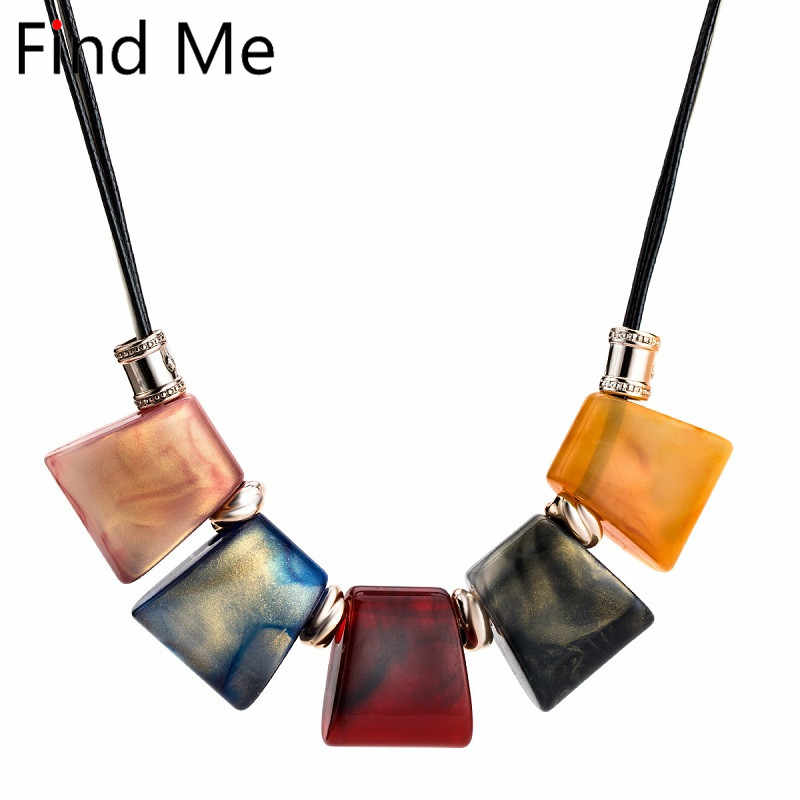 Find Me 2019 new fashion plank Leather cord statement necklace & pendants vintage resin collar choker necklace for women Jewelry