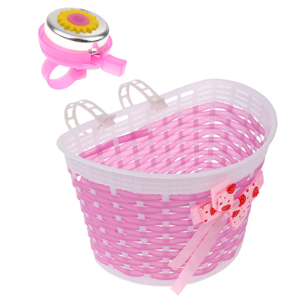 2pcs Bicycle Basket Front Bag Children Kids Handlebar Scooter Bell + Shopping Stabilizers Cycling Accessories