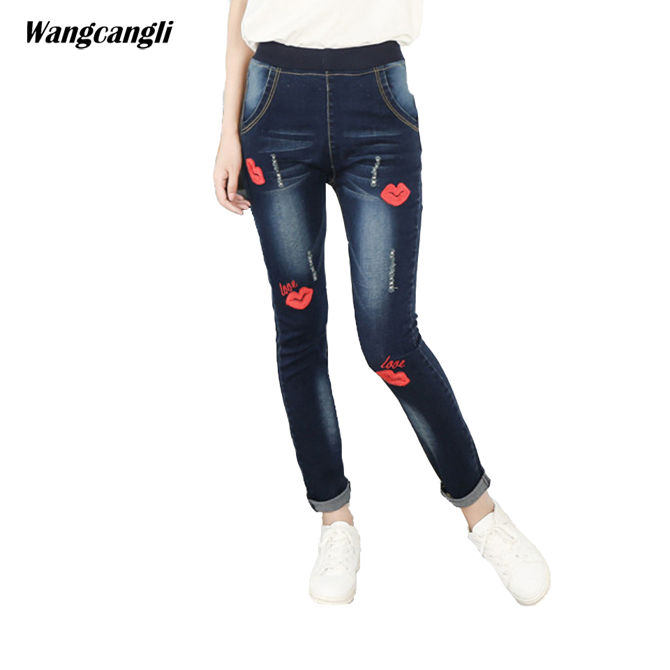 jeans women blue embroidery sexy lips Large size 2XL 5XL elastic tight trousers decoration Pattern Moustache effect wangcangli wangcangli jeans women shorts light blue large size denim fat sister elastic waist mid waist jeans moustache effect summer 4xl