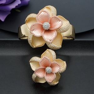 Image 1 - ModemAngel Luxury Large Bloom Flower Bracelet Bangle and Ring Set for Women Engagement Wedding Party