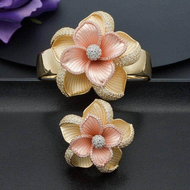 ModemAngel Luxury Large Bloom Flower Bracelet Bangle and Ring Set for Women Engagement Wedding Party