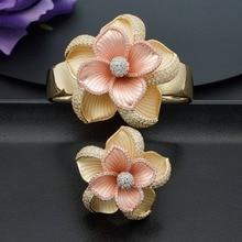ModemAngel יוקרה גדול בלום פרח צמיד צמיד וטבעת סט לנשים אירוסין מסיבת חתונה