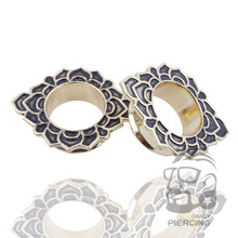 428f4ffe4166 2 unids oro antiguo IP flor tribal túnel plugs piercings mujer hombres  6-25mm tapones