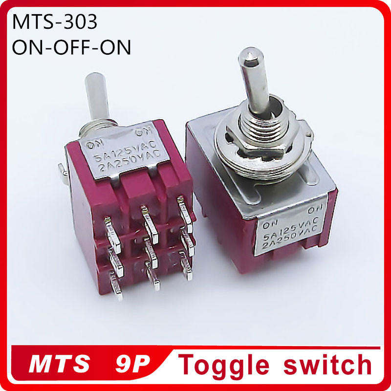 Wholesale 100pcs MTS 303 ON OFF ON 3 Position Latching 2A250VAC 5A125VAC Power 9pin Toggle Switch