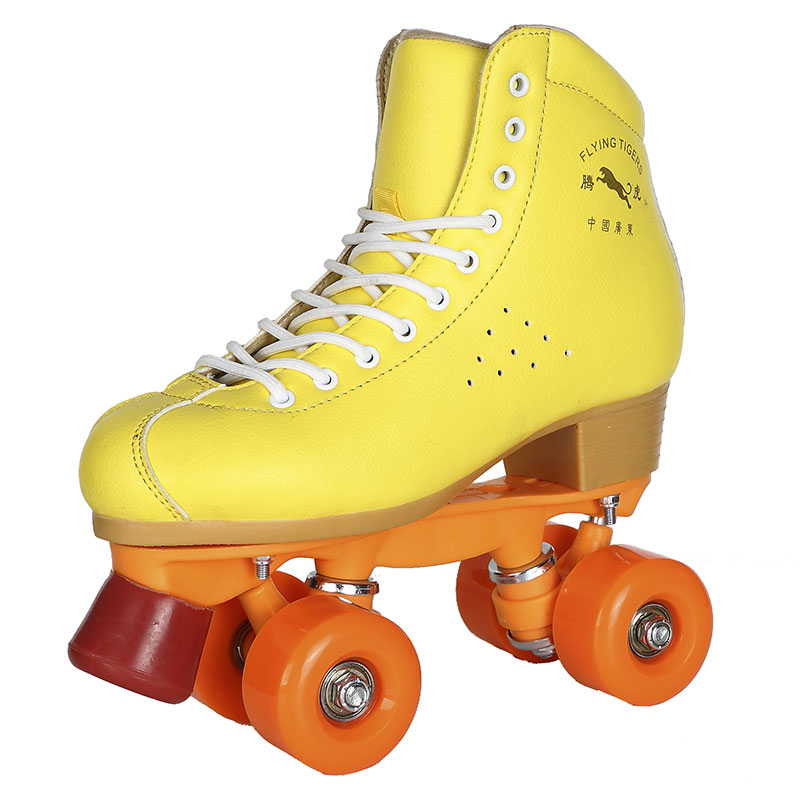 Brand New Yellow Roller Skates Double Lines Quad Skates Women Men's 4 PU Wheels Two Lines Skating Boots
