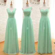 Mint Green Long Bridesmaid Dresses 2016 3 Style Chiffon Vestido Pleated Wedding Party Dresses Party Dress