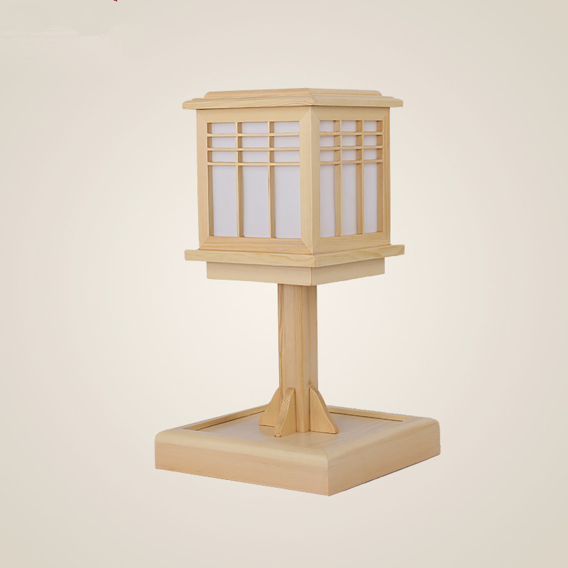 Wood table lamps for bedroom japanese style modern bedside for Lamp wooden