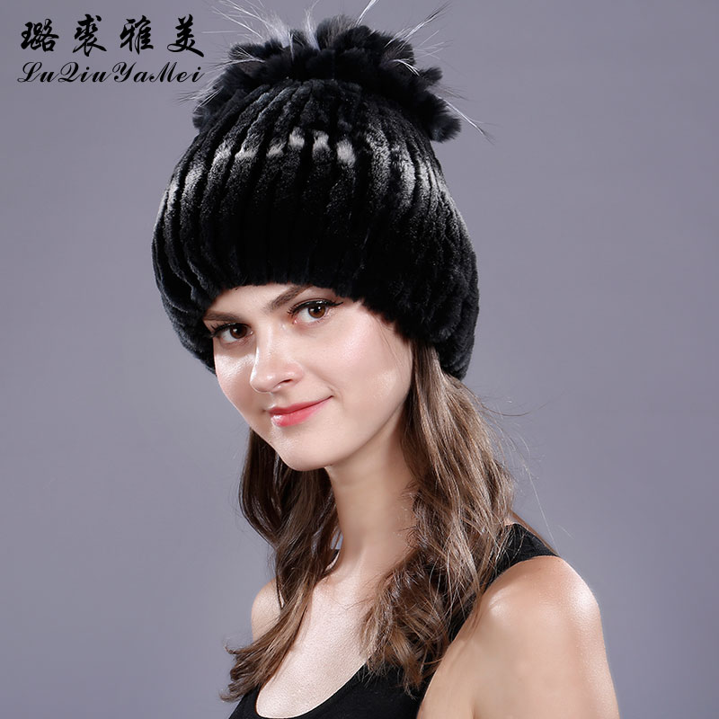 Flower Desian Winter Hats Real Fur Rex Rabbit Knitted Beanie 2017 Casual Fur Caps Russian Natural Fur Women's Beanie Hat Female hot smart home white crystal glass panel 1 circuit us plug light touch and remote control screen switch with led indicator