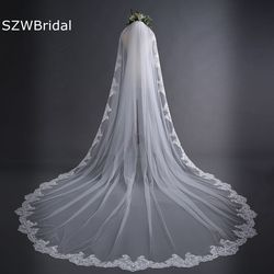Новая белая Соборная свадебная фата длинная кружевная кромка свадебная вуаль с гребнем Свадебные аксессуары невесты Мантилья свадебная ву...