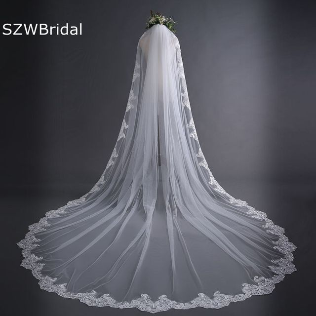 New off White Cathedral Wedding Veils Long Lace Edge Bridal Veil