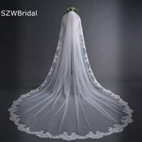 New off White Cathedral Wedding Veils Long Lace Edge Bridal Veil with Comb Wedding Accessories Bride Mantilla Wedding Veil