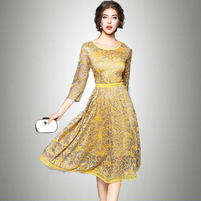New Women Yellow Lace Dress 2018 Female Spring Summer 3 4 Sleeved O Neck  Work Office Dress Elegant Ladies Causal Party Robe 93bf130fd12c