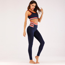 Gym Clothing Breathable Yoga Sets Sexy Patchwork Women Sportswear Sleeveless Halter Tight Fitness Sports Suit Set Workout