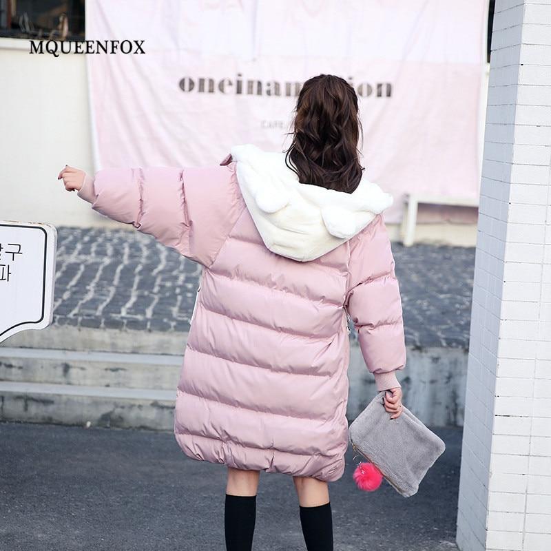 2019 New Parkas Female Winter Jacket Cute Bear Ears Hooded Thicken Warm Coat Women Zipper Pockets
