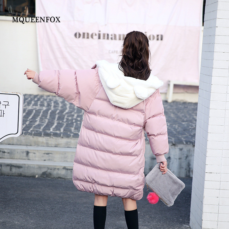 2019 New   Parkas   Female Winter Jacket Cute Bear Ears Hooded Thicken Warm Coat Women Zipper Pockets Outerwear Jacket Mujer