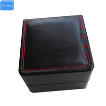 Фотография Best buy for wholesale black/brown/red leather sewing inner velvet pillow jewelry watches box storage 11x10x7.5cm