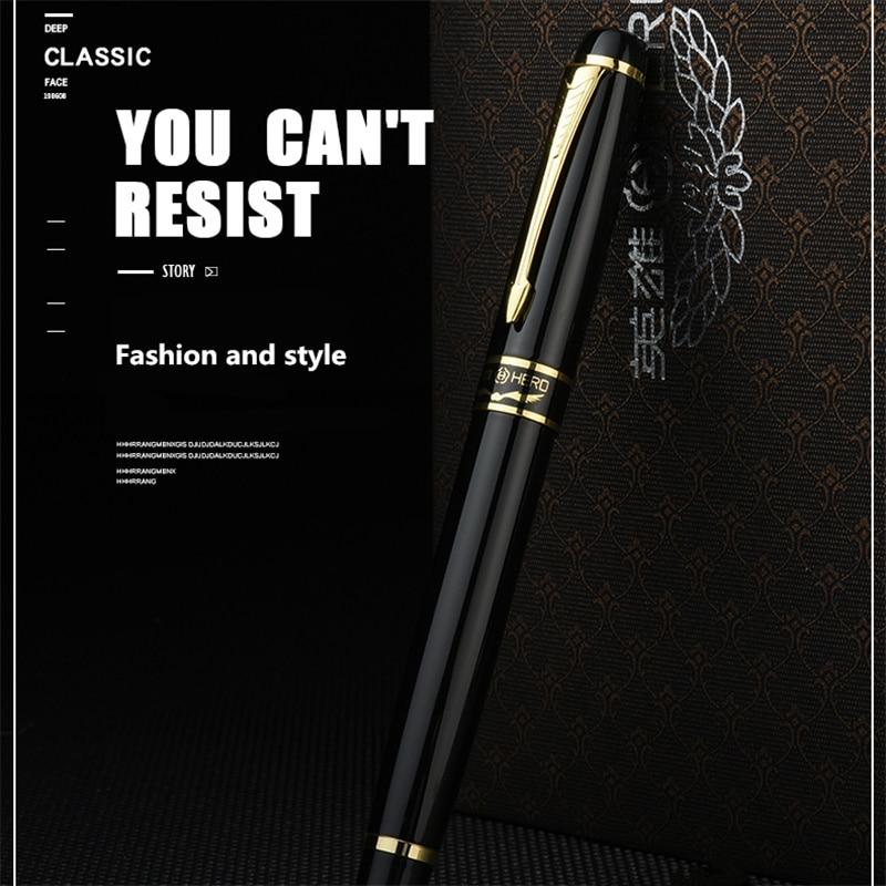 Black HERO Fountain Pens 326A steel hidden Fine iridium Nib Pen